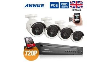 63% DISCOUNT ANNKE 4CH 720P PoE NVR HD 1280*720P CCTV Camera System